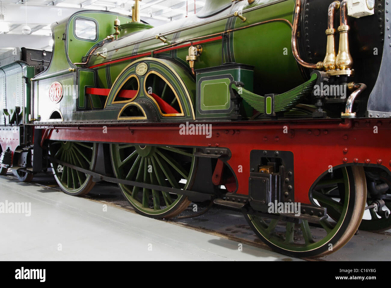 Class 2-4-0 locomotive No 910 inThe National Railway Museum at Shildon, County Durham, England, UK - Stock Image