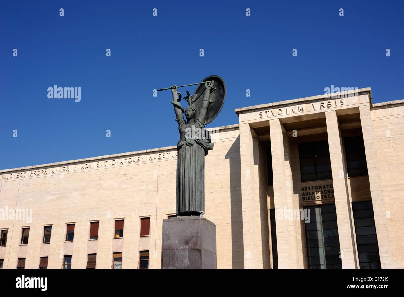 italy, rome, la sapienza university, minerva statue and palazzo del rettorato Stock Photo