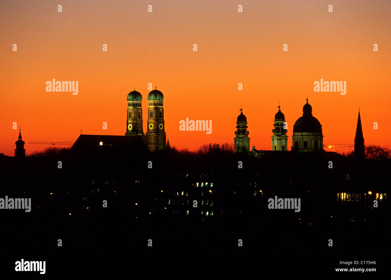 Skyline of Munich, Frauenkirche Church and Theatinerkirche Church, Munich, Bavaria ***restriction: Usage: advertisement - Stock Image