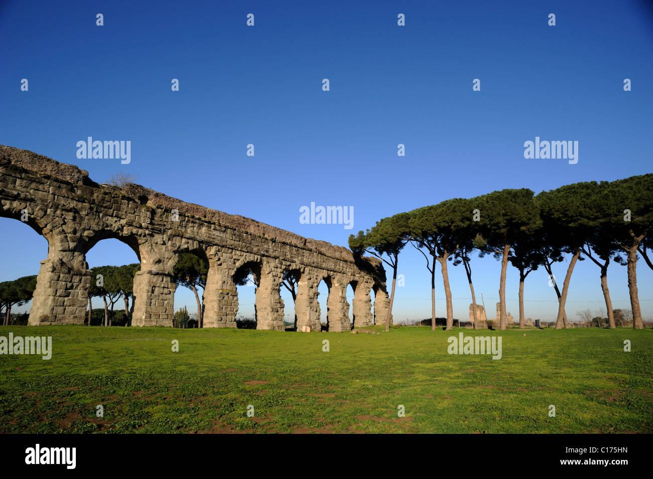italy, rome, parco degli acquedotti, ancient roman aqueduct - Stock Image