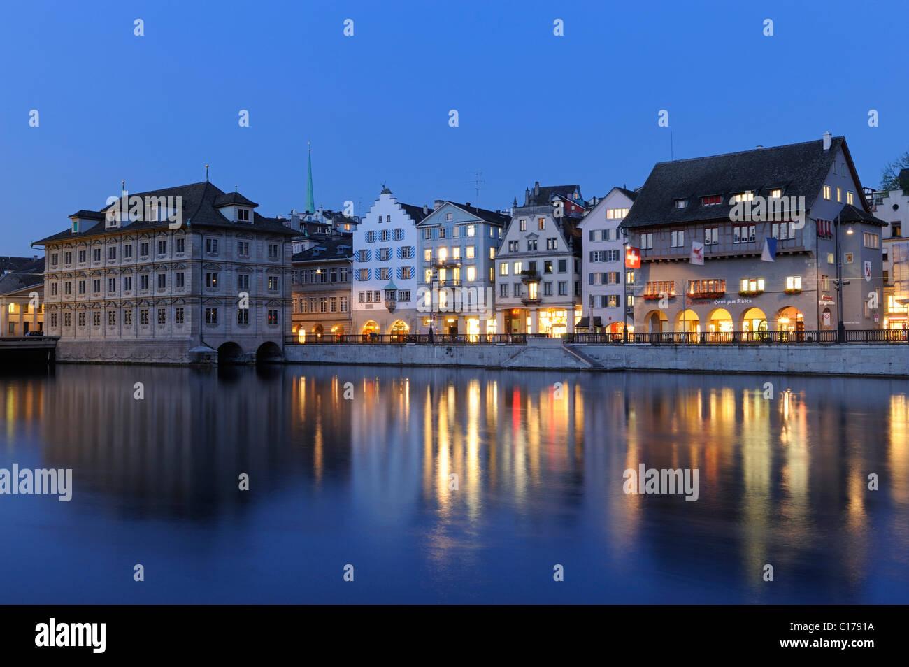 Banks of Limmat with Guildhall Zum Rueden and Zuerich City Hall, Switzerland, Europe - Stock Image