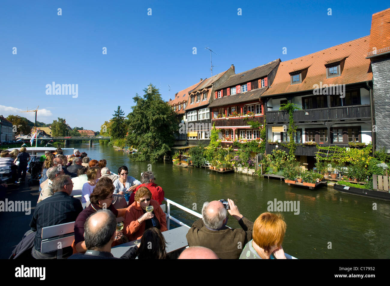 Tourist ship in front of Little Venice, Bamberg, Upper Franconia, Bavaria, Germany, Europe - Stock Image