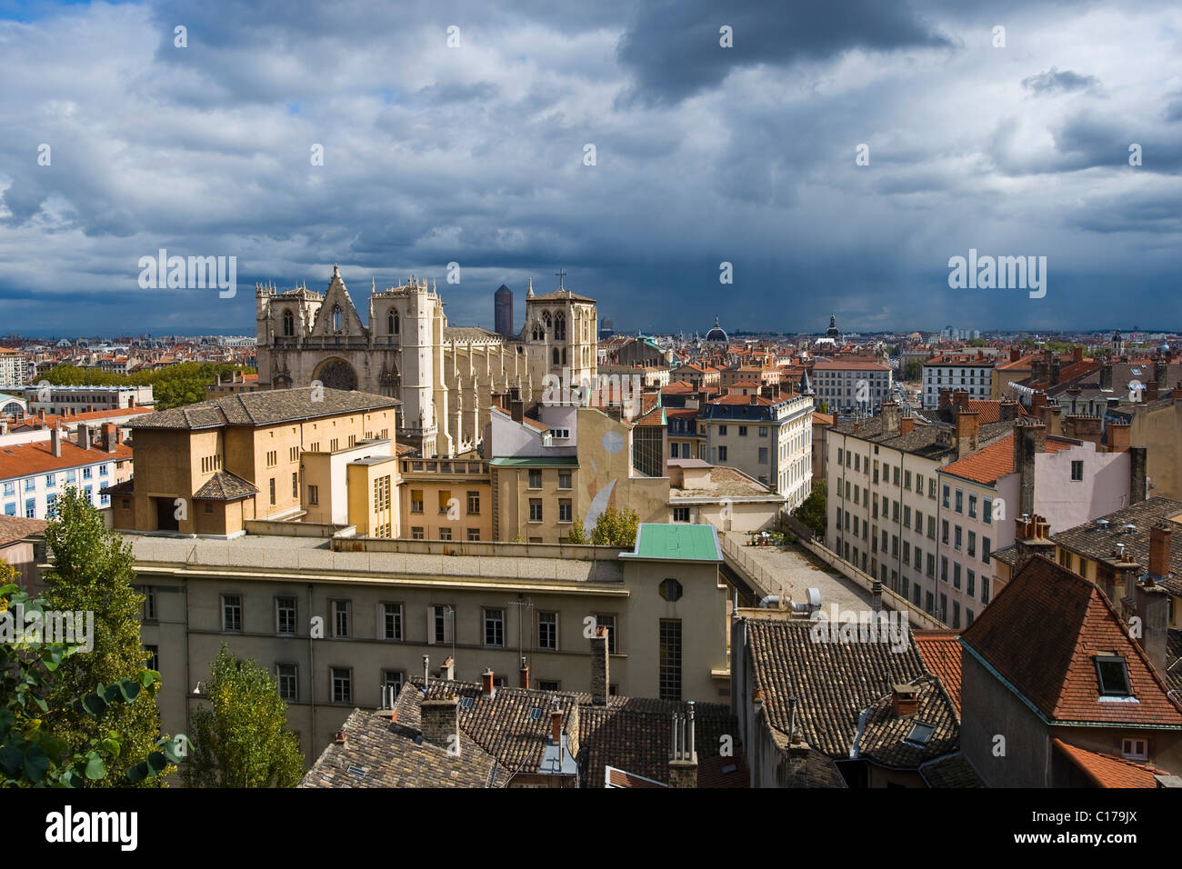 Cityscape and Saint Jean Cathedral in Lyon, France, Europe - Stock Image