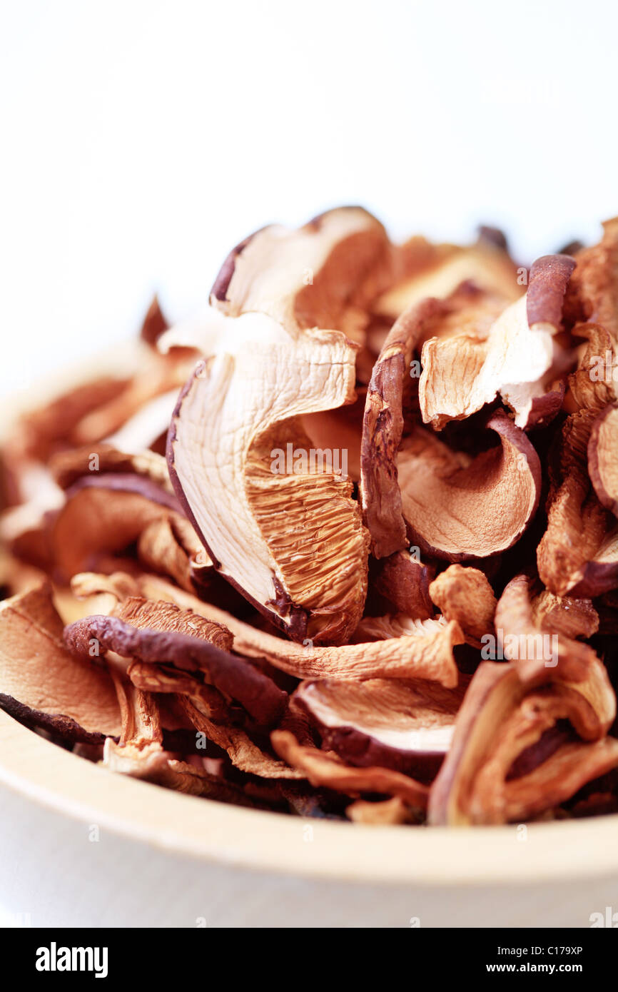 Bowl of dried mushrooms - Stock Image