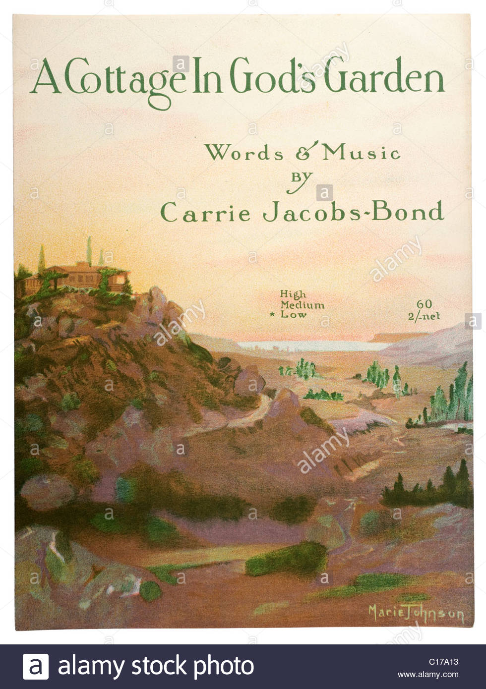 Old sheet music front cover from1917 titled A Cottage in Gods Garden words and music by Carrie Jacobs Bond. EDITORIAL - Stock Image