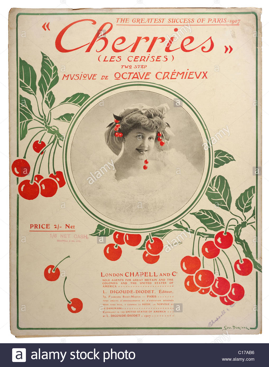 Old sheet music front cover from 1906 titled Cherries two step by Octave Cremievx. EDITORIAL ONLY - Stock Image