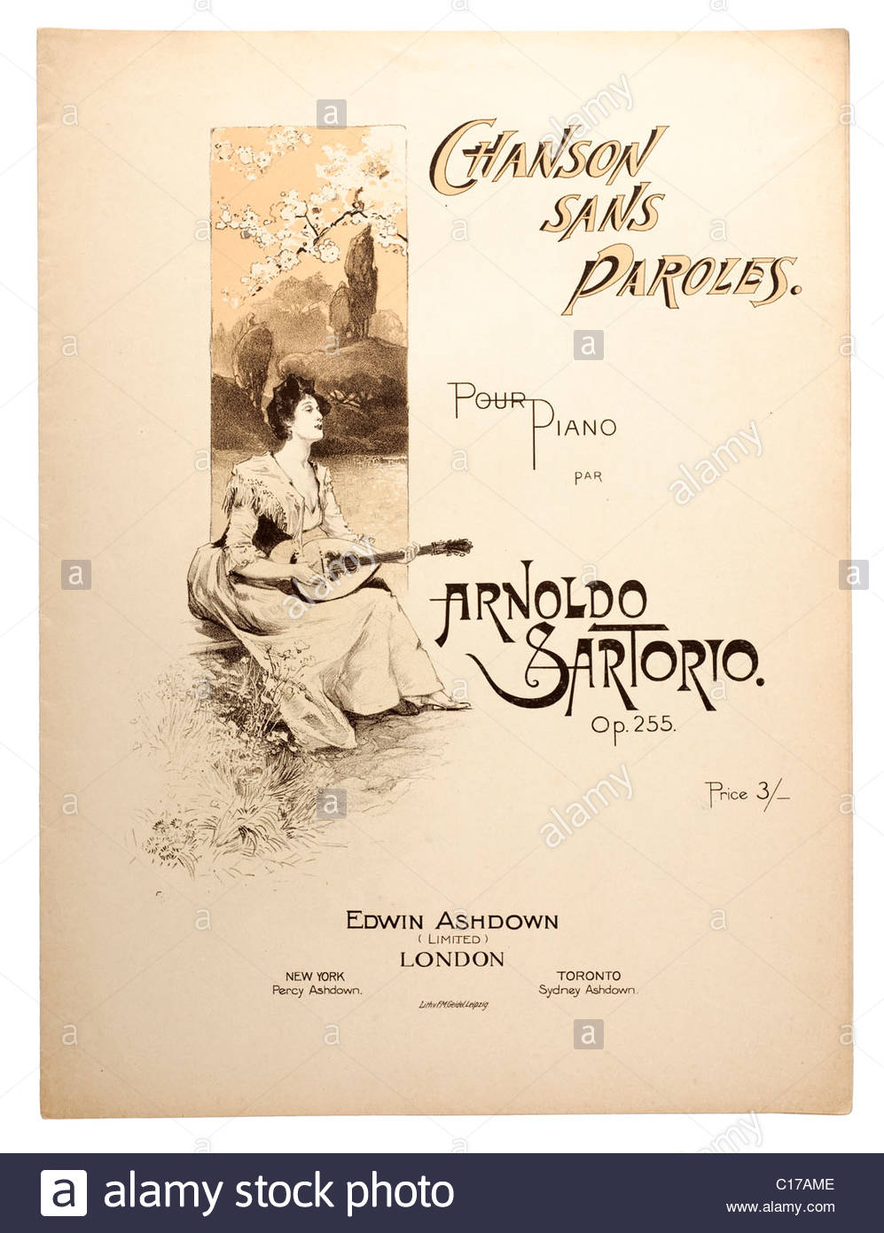 Old Sheet Music Front Cover From 1900 Titled Chanson Sans Paroles