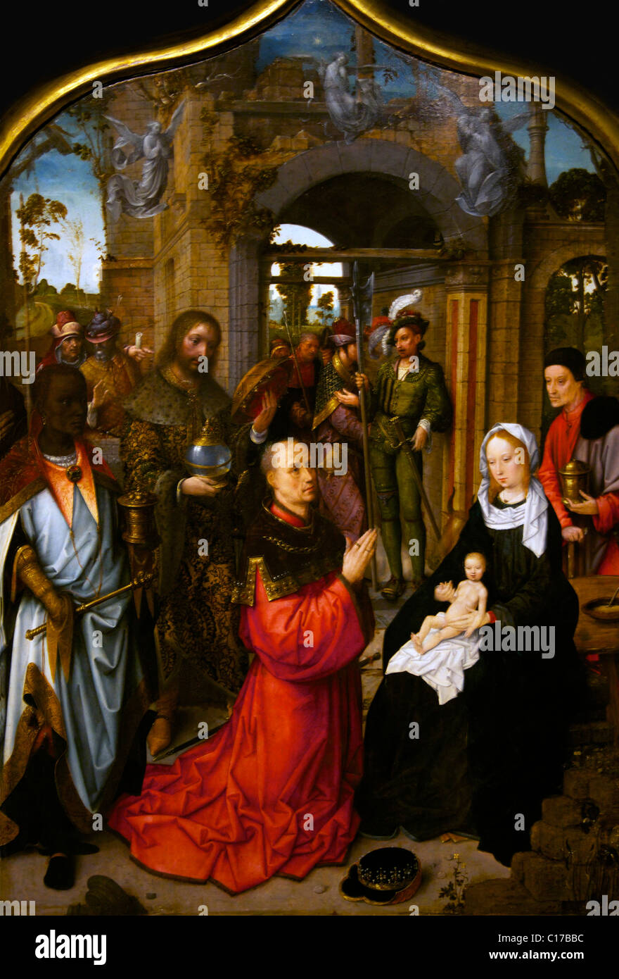 Detail of the Adoration of the Magi Triptych, by Adriaen Isenbrandt, circa 1510-1512, Birmingham Museum & Art - Stock Image