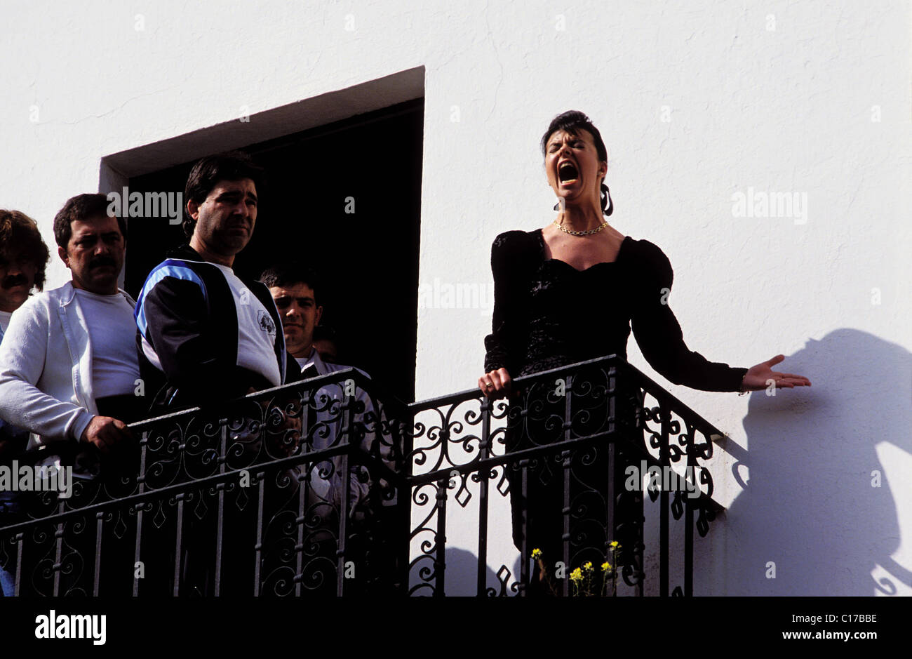 Spain, Andalusia, Sevilla, brotherhood El Cachorro, Saeta song, Holy week Stock Photo