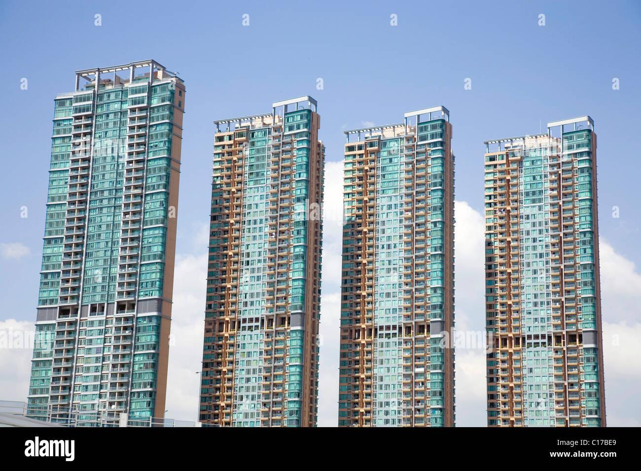 Residential area, multistory buildings, Hongkong, China, Asia - Stock Image