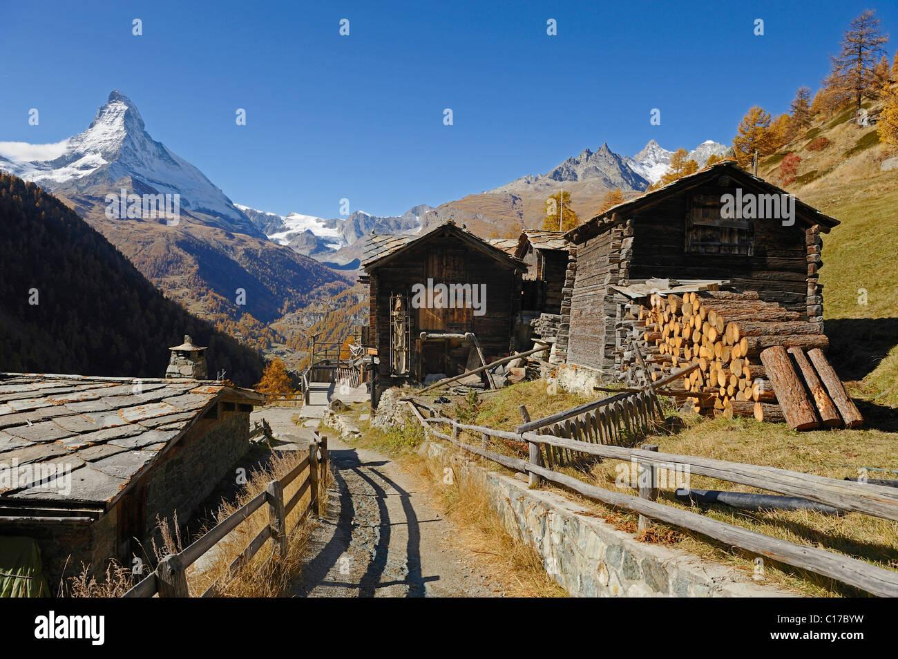 Hamlet Findeln with Matterhorn at the back, Zermatt, Valais, Switzerland, Europe - Stock Image
