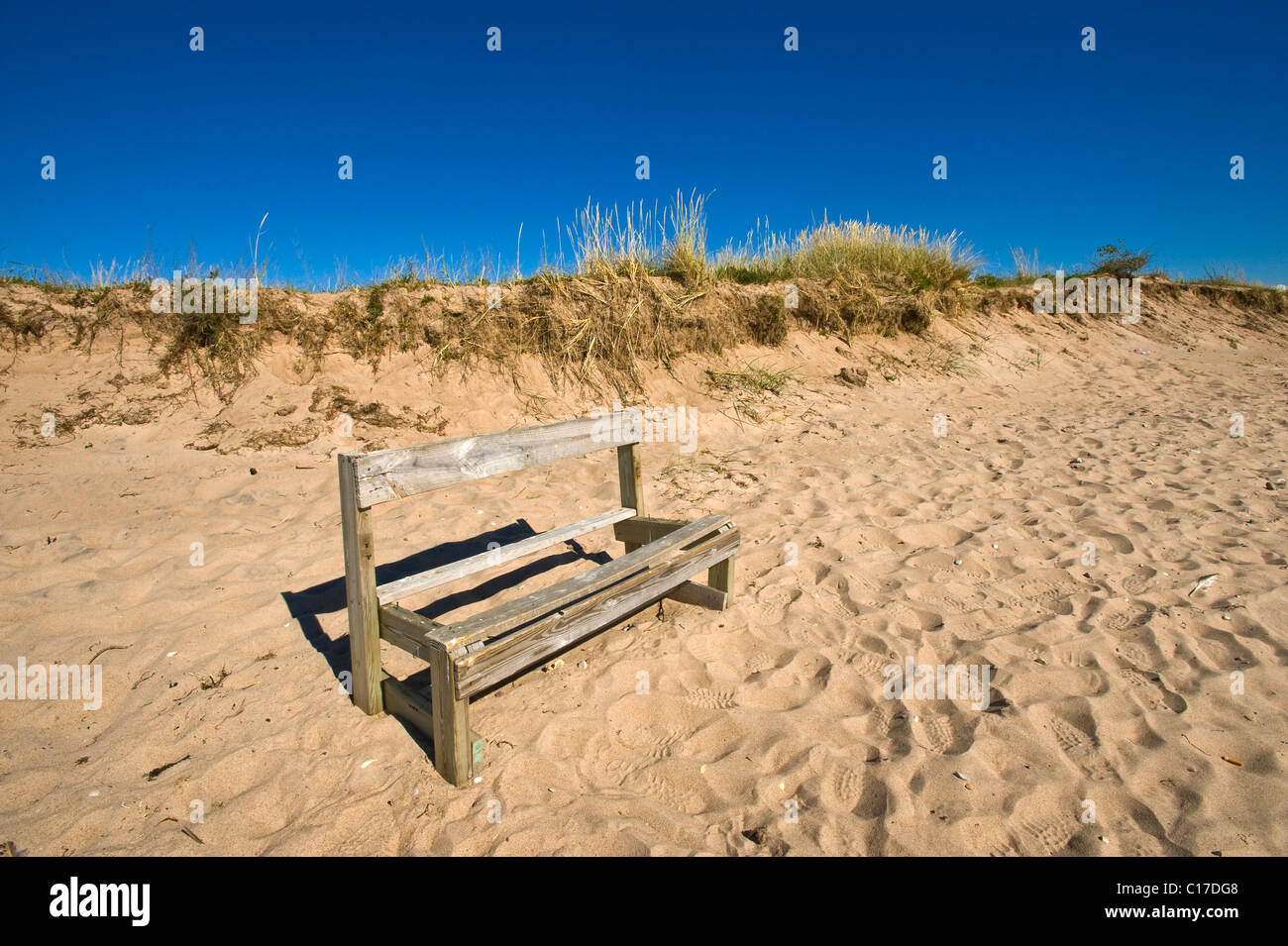 Bench in a ruinous condition in the dunes, Harielaide peninsula, Vilsandi National Park, Saaremaa, island in the - Stock Image