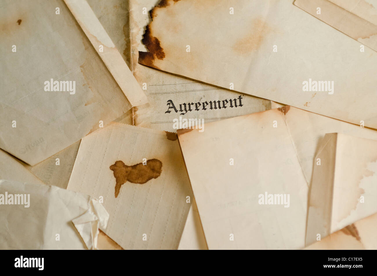 burned old legal document - Stock Image