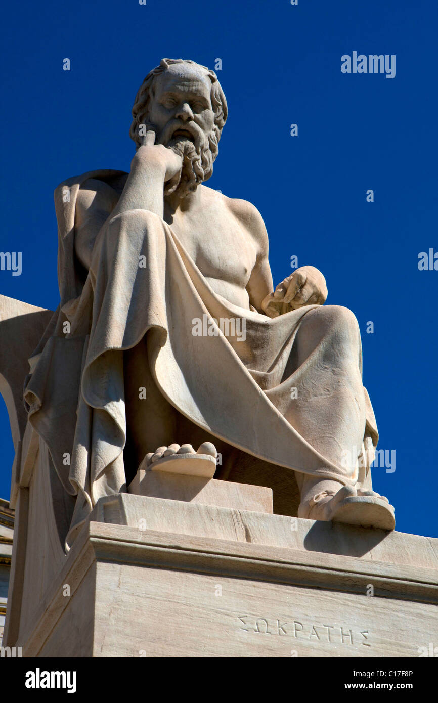 Socrates statue philosopher outside Athens Academy - Stock Image