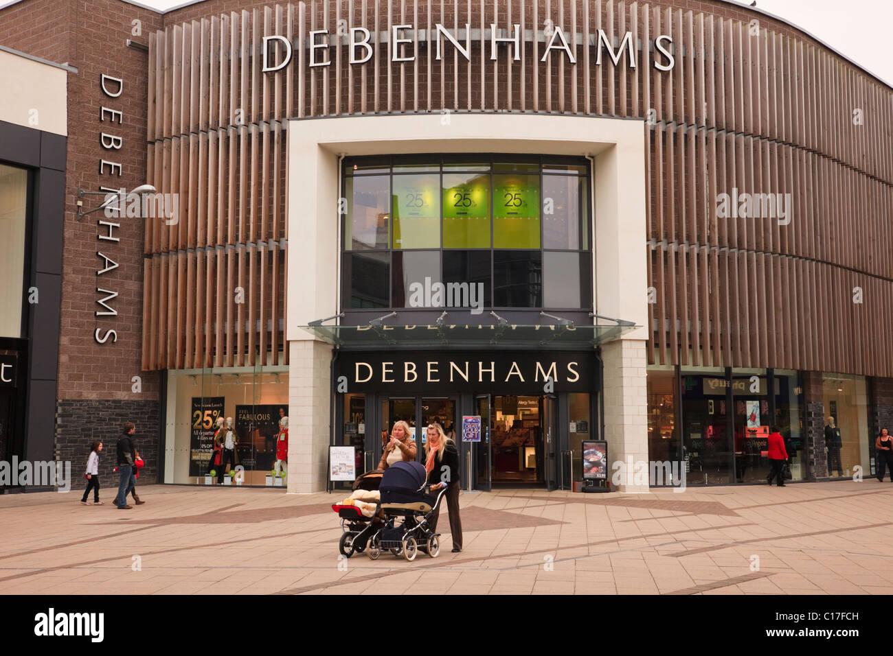 Wrexham, Flintshire, North Wales, UK, Britain. Debenhams department store at Eagles Meadow shopping centre - Stock Image
