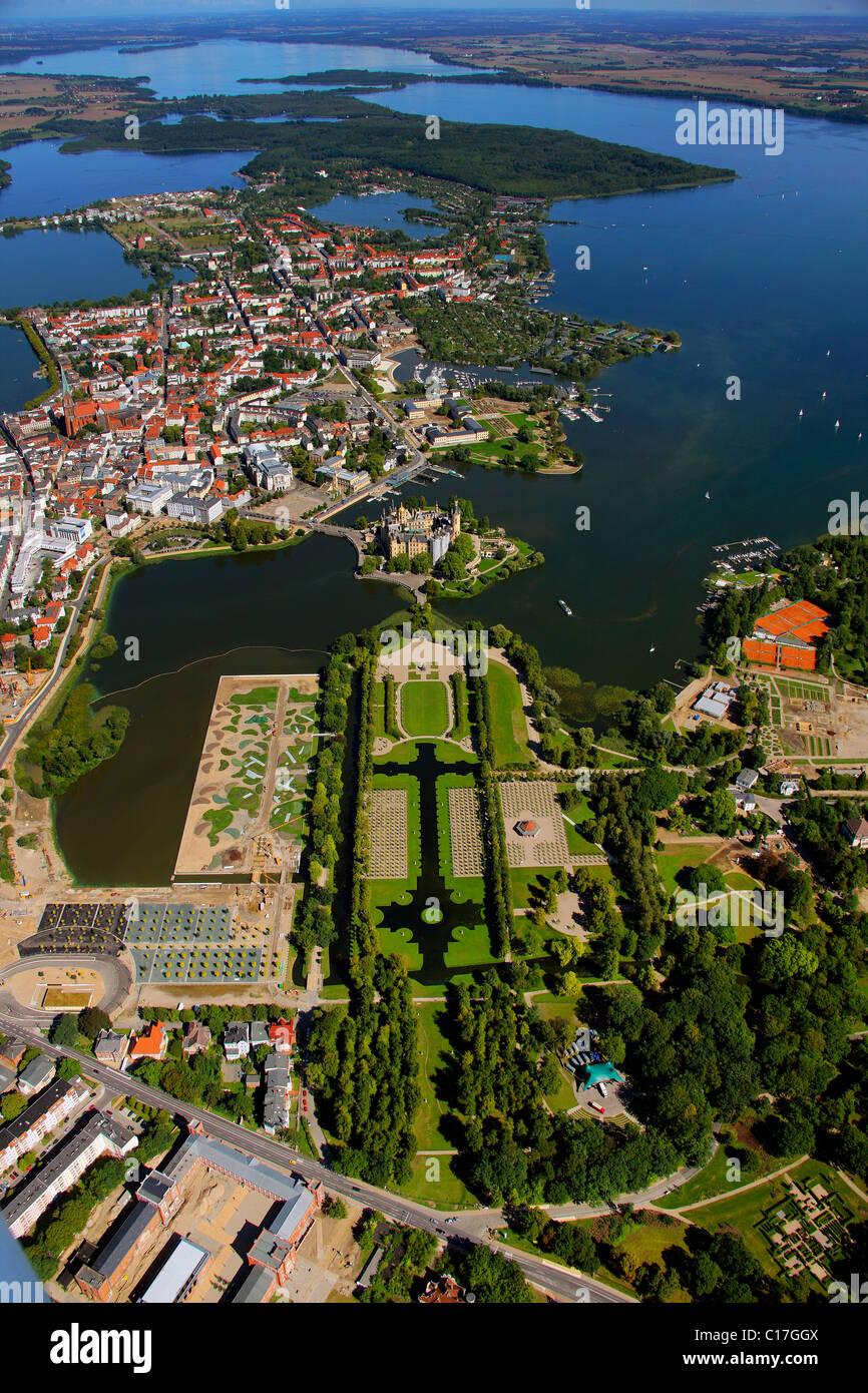 Aerial view, Schwerin Castle, baroque garden, compound of the German Federal Garden Show BUGA 2009, Lake Schwerin, Stock Photo