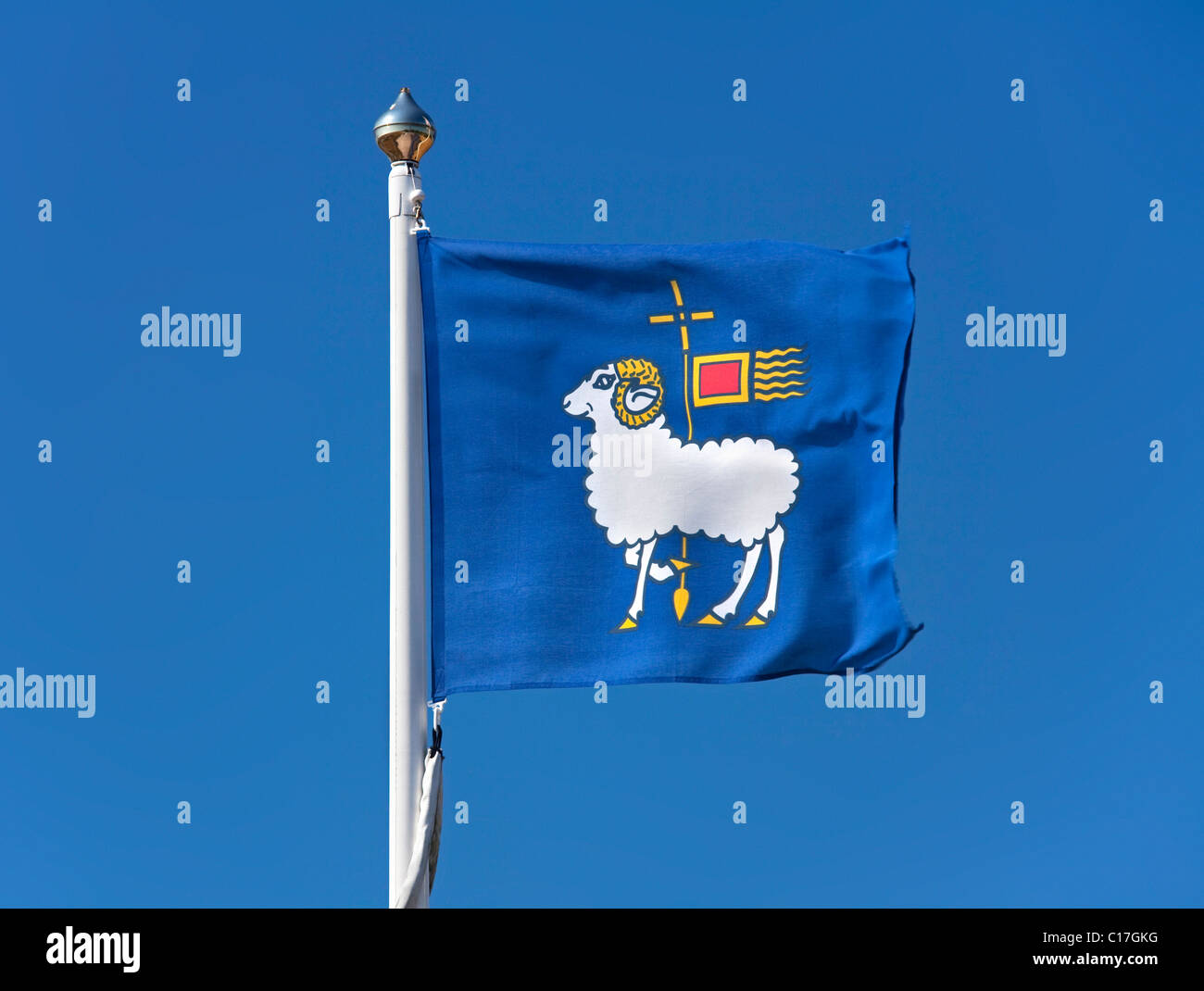 Flag showing coat of arms of Gotland island, Sweden - Stock Image