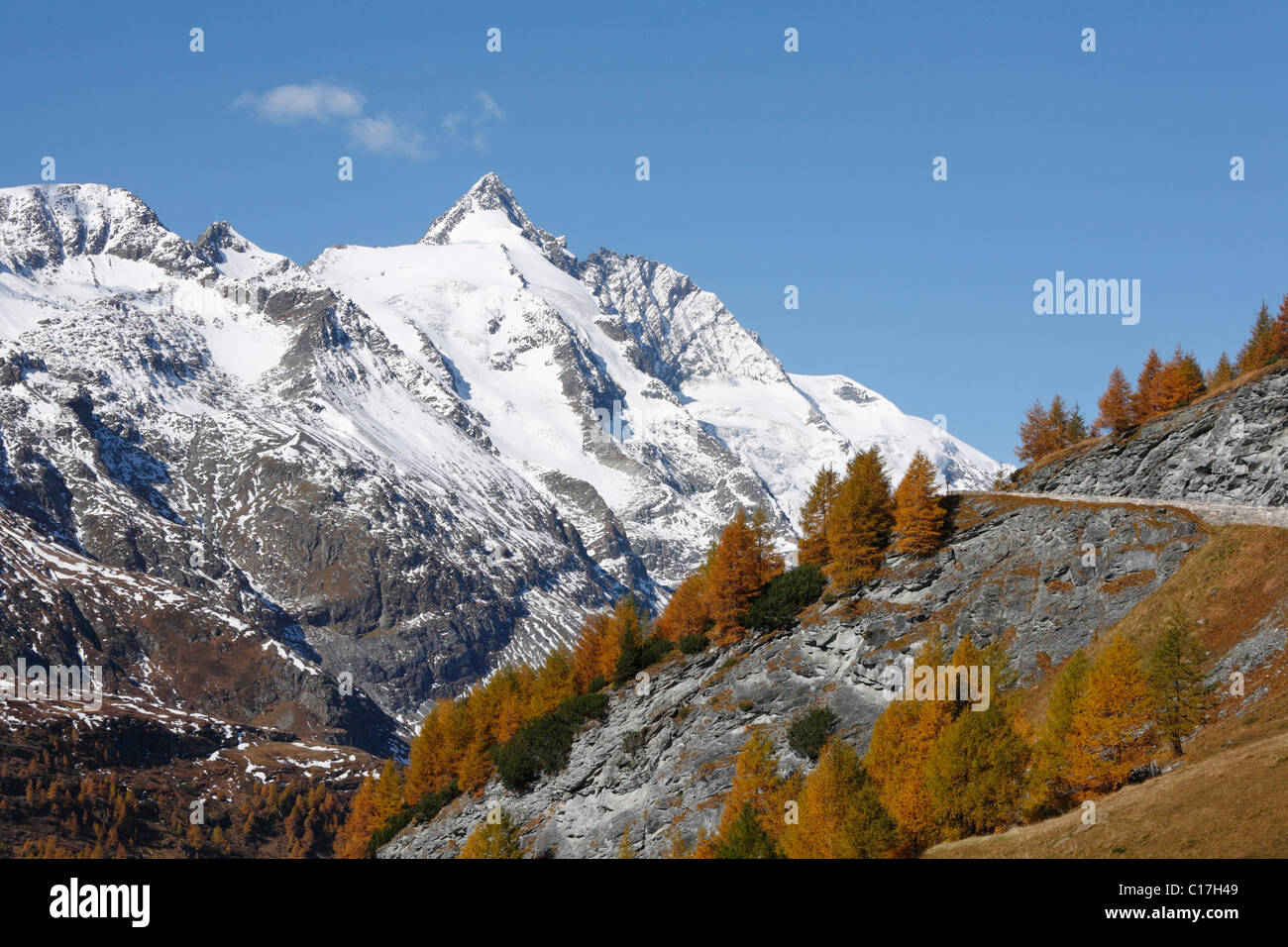Grossglockner, autumnal larches, view from Grossglockner High Alpine Road, Hohe Tauern National Park, Carinthia, Stock Photo