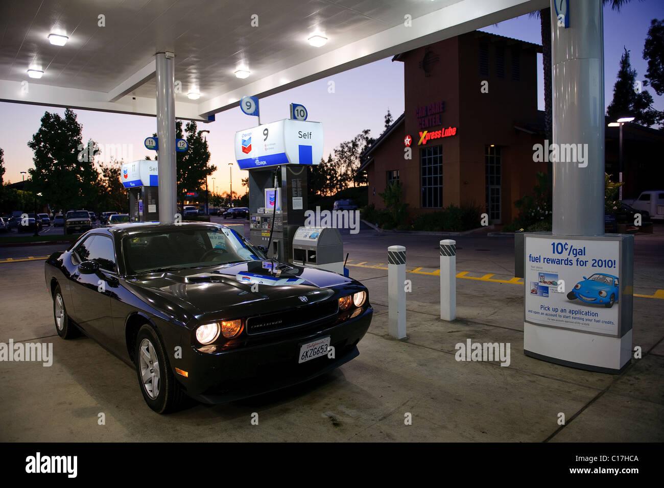Dodge Challenger muscle car twilight moody retro muscle car USA Lake Elsinore supercar midlife crisis garage petrol - Stock Image