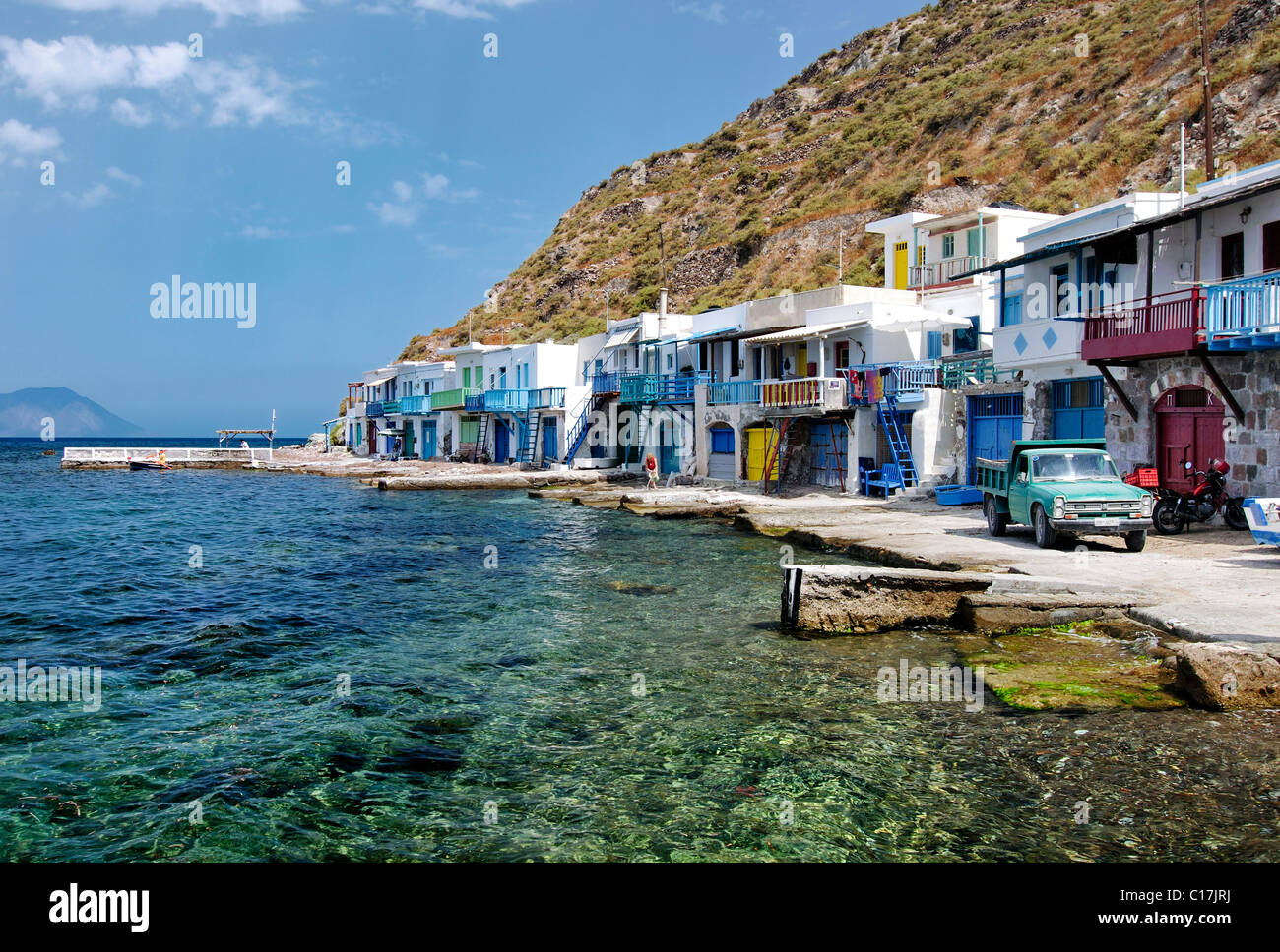 Colourful houses in the small fishing village of Klima on the island of Milos, Cyclades, Greece, Europe - Stock Image