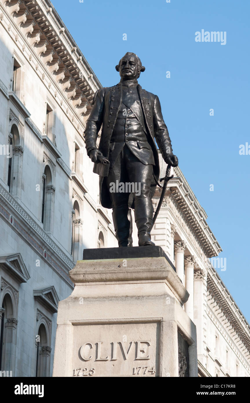 Statue of Robert Clive at Whitehall in London,England - Stock Image