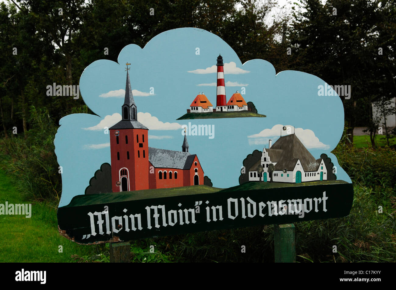 Welcoming sign in Oldenswort, North Frisia, Schleswig-Holstein, Germany, Europe - Stock Image