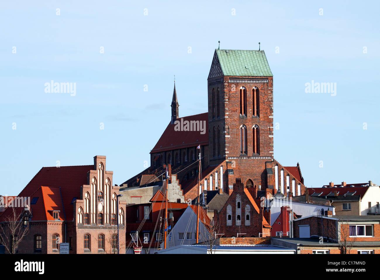 Historic St. Nikolai Church in the Old Town of Wismar, UNESCO World Heritage Site, Mecklenburg-Western Pomerania - Stock Image