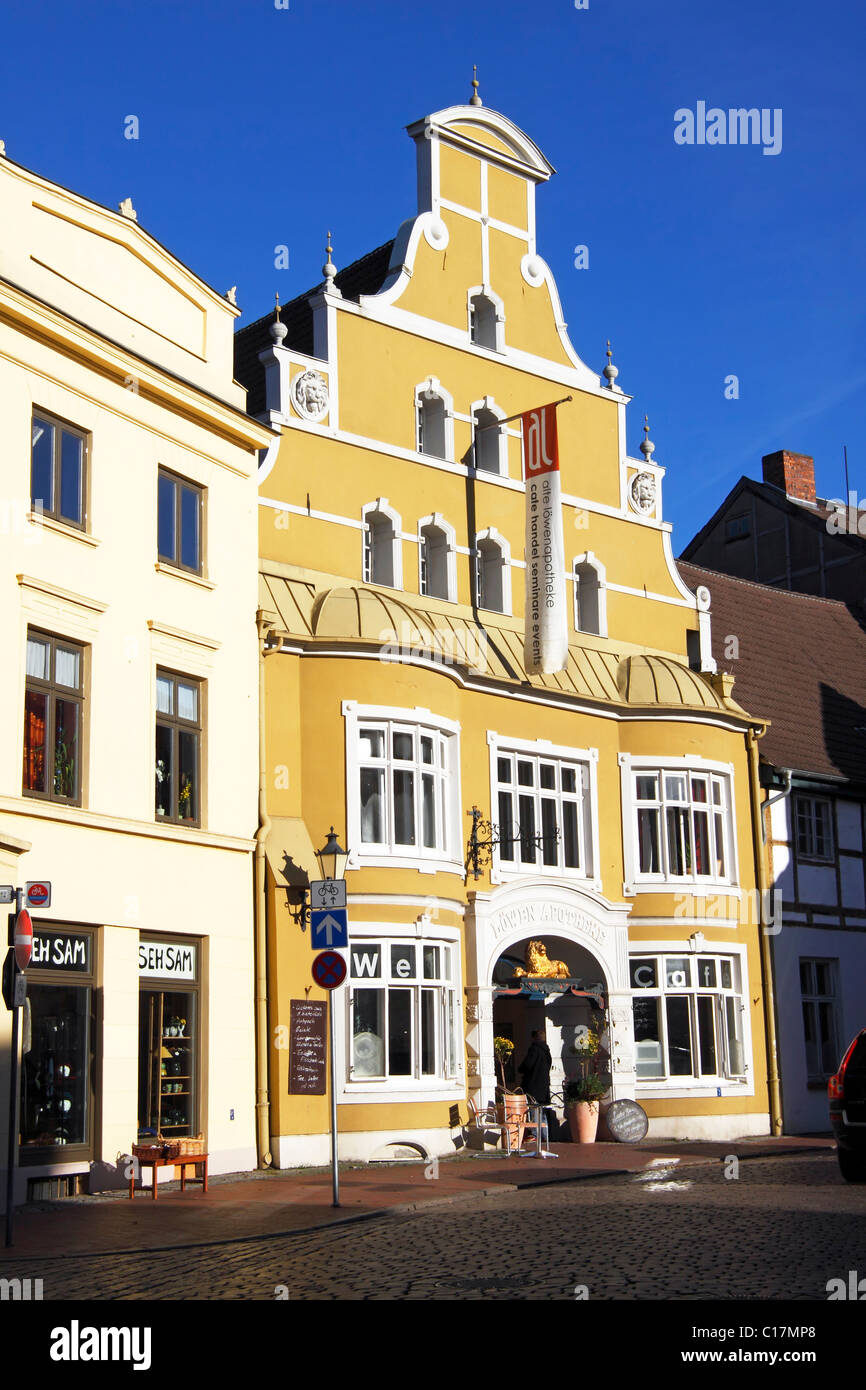 Historic house, former Loewen Apotheke, pharmacy, in the Old Town of Wismar, UNESCO World Heritage Site Stock Photo