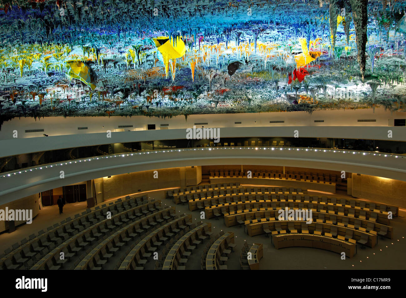 Human Rights and Alliance of Civilizations Room at the Palais des Nations, domed ceiling designed by Miquel Barcelo, - Stock Image