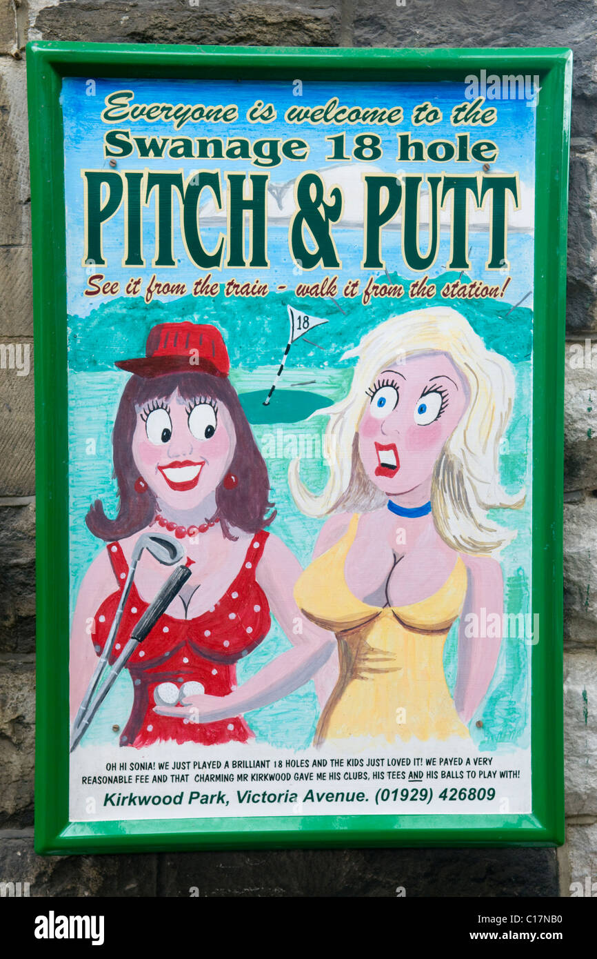 Poster for the Swanage 18 Hole Pitch and Putt Course in the Style of a Traditional British Saucy Postcard - Stock Image