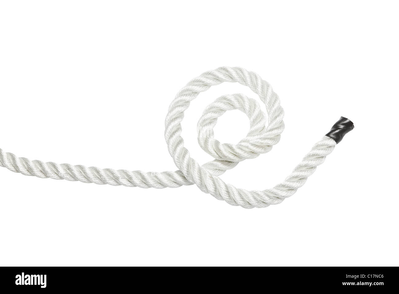Strong rope isolated on white - Stock Image