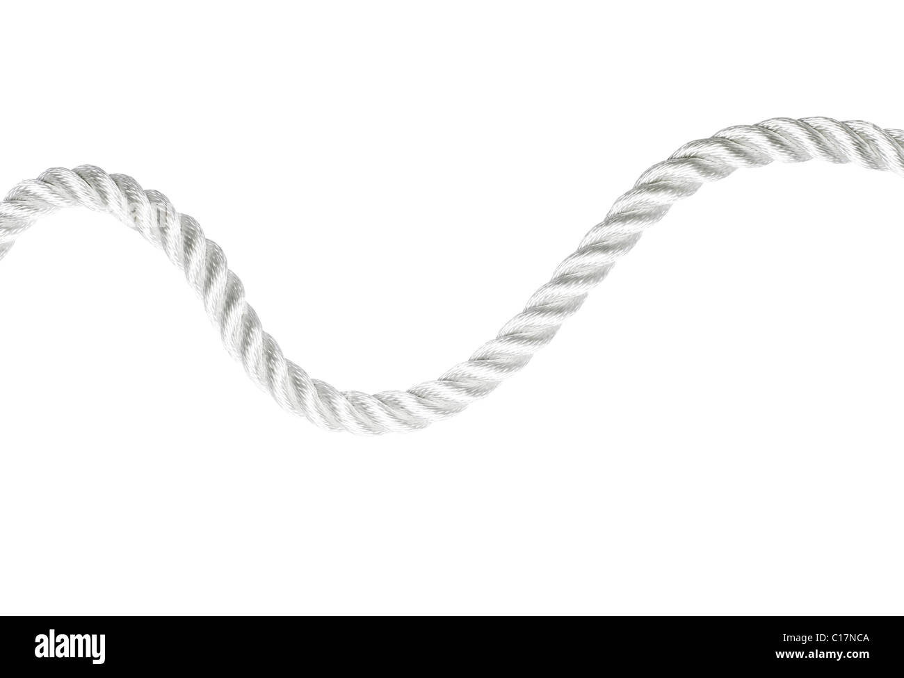 Simple white rope isolated - Stock Image