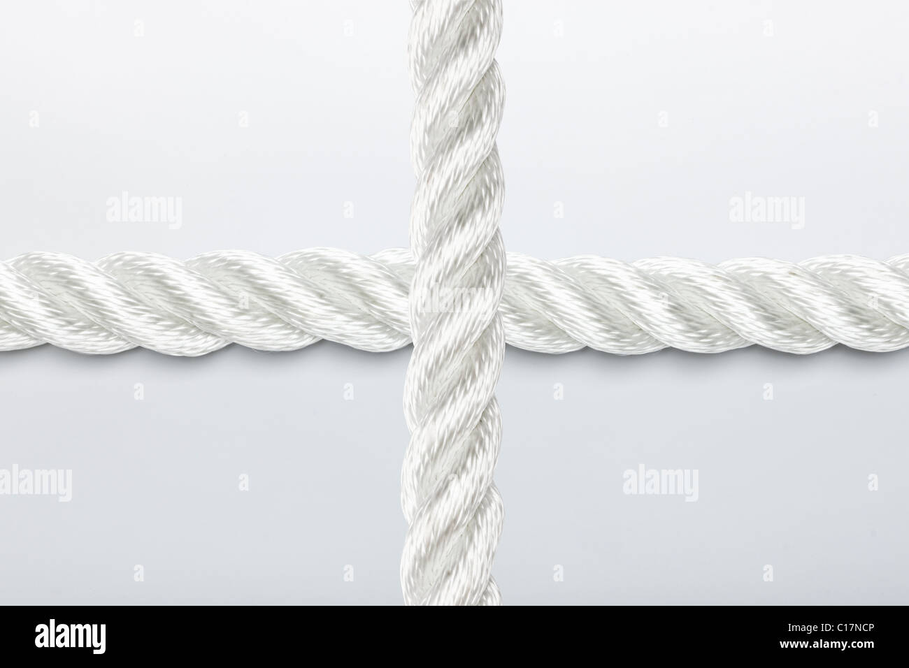 Strong nylon rope overlapping in a cross - Stock Image