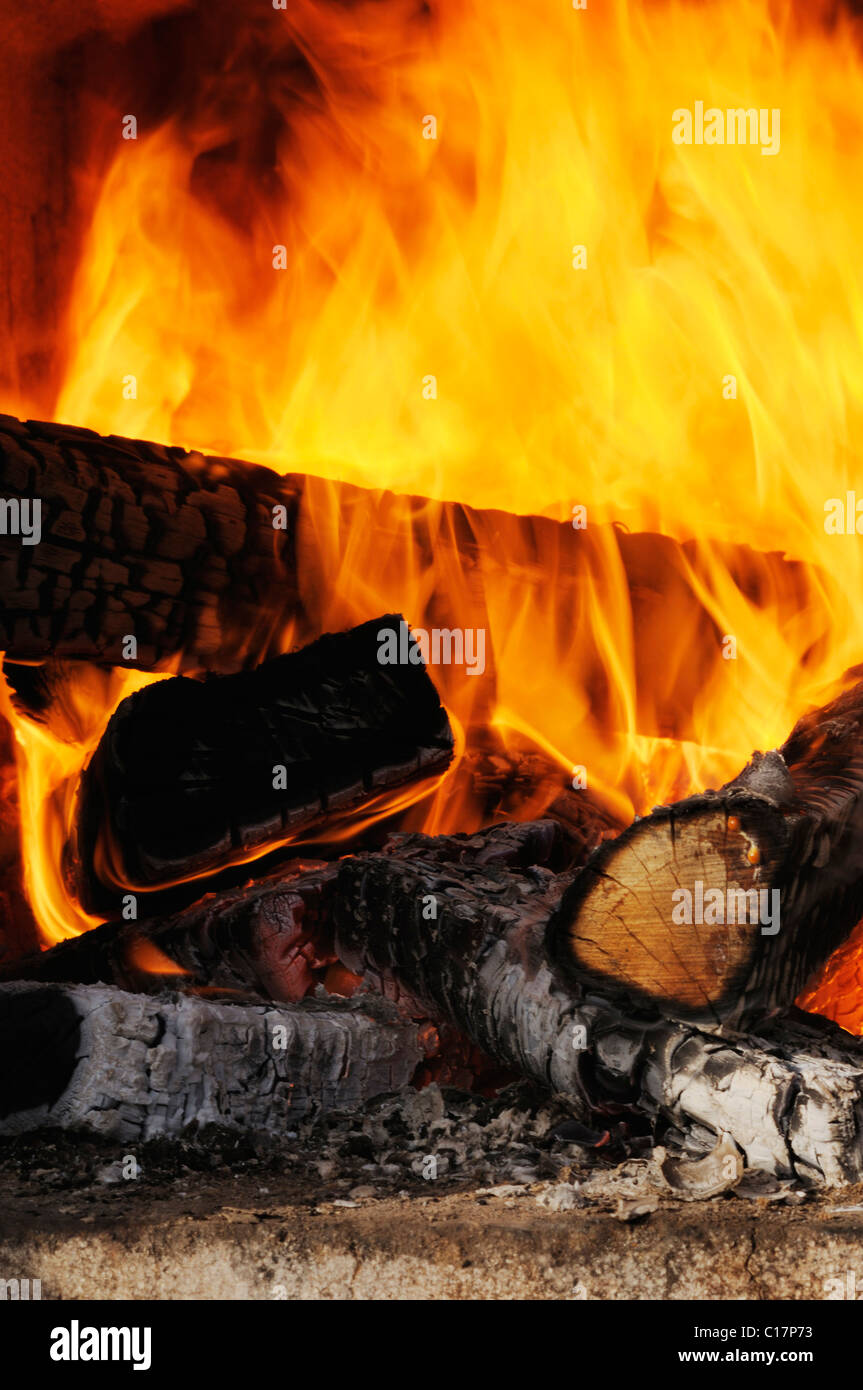 Wood fire, view of flames and charring logs Stock Photo
