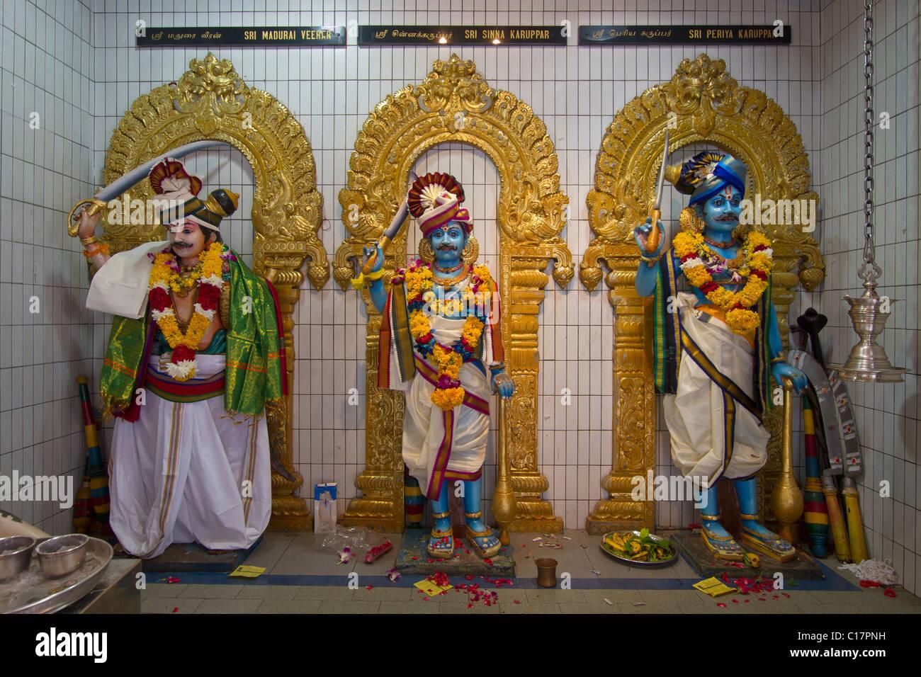 Sri Veeramakaliamman Hindu temple deities in Serangoon Road Singapore - Stock Image