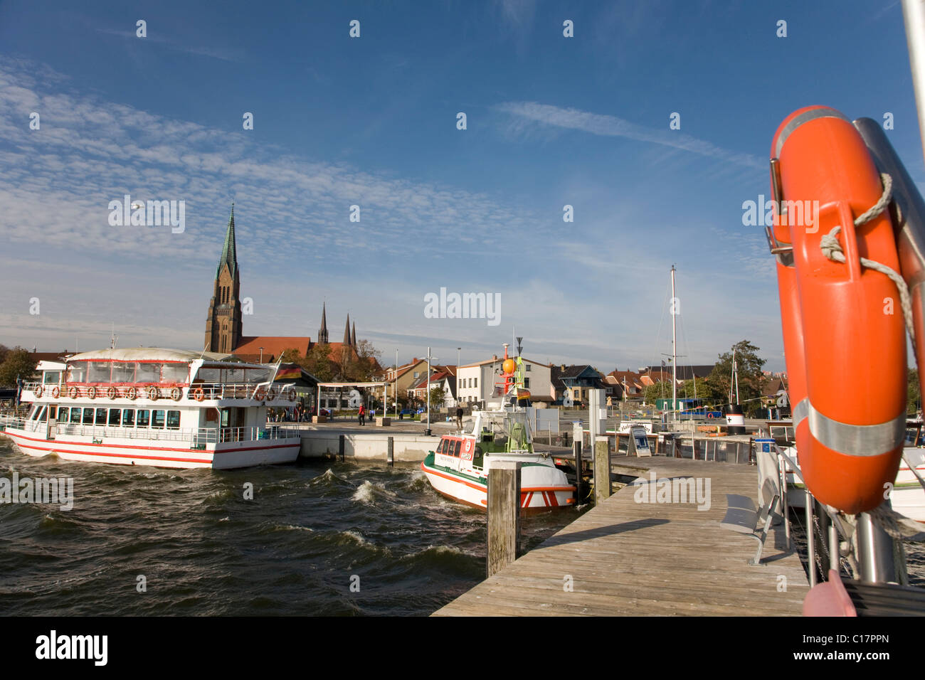 Harbour with view to St. Petri Dom, St. Peter's Cathedral, Schleswig an der Schlei, Ostsee, Schleswig-Holstein, Stock Photo