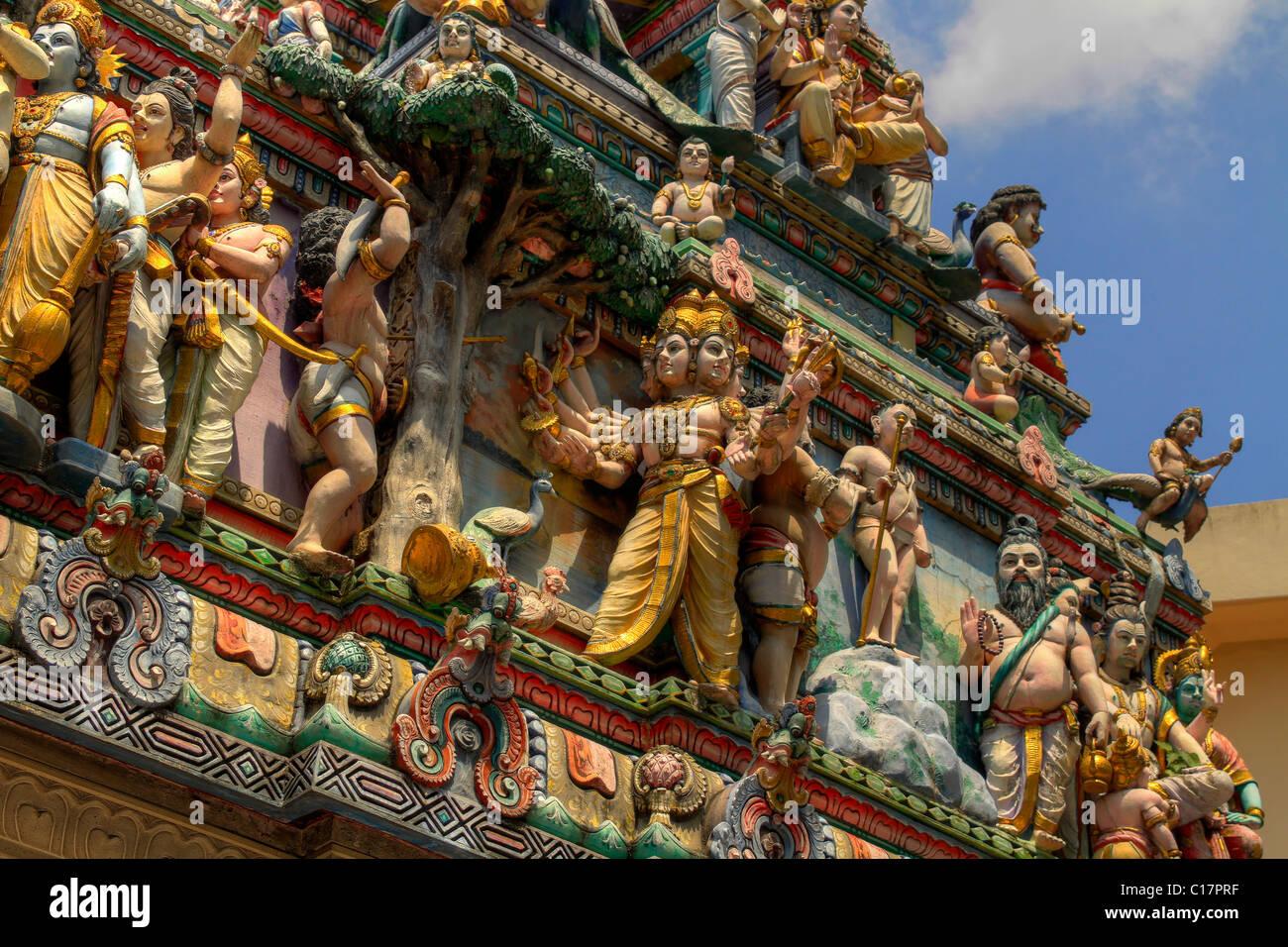 Sri Veeramakaliamman Hindu temple deities in Serangoon Road Singapore 2 - Stock Image