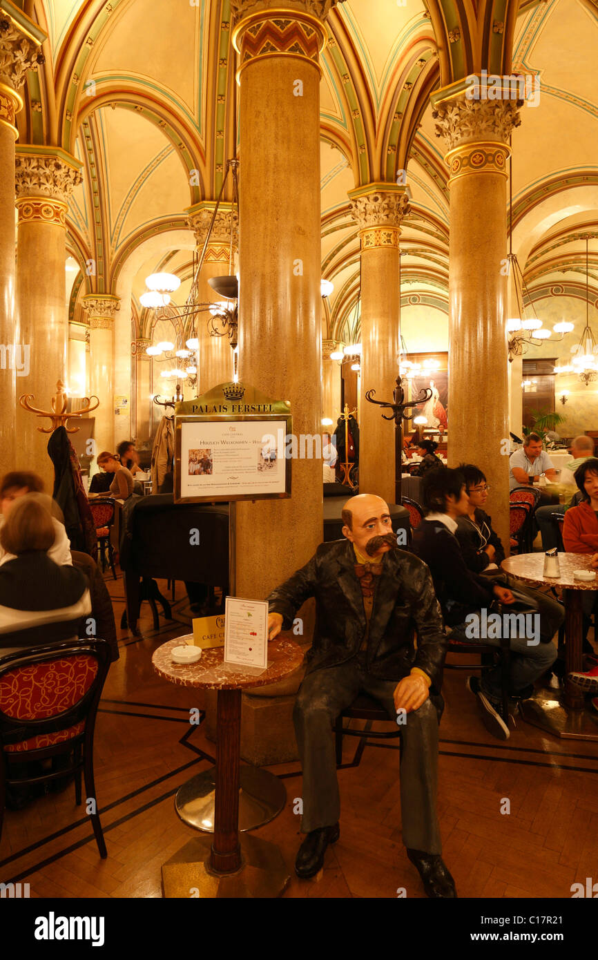 Café Central in Palais Ferstel with life-size figure of Peter Altenberg, Vienna, Austria, Europe - Stock Image