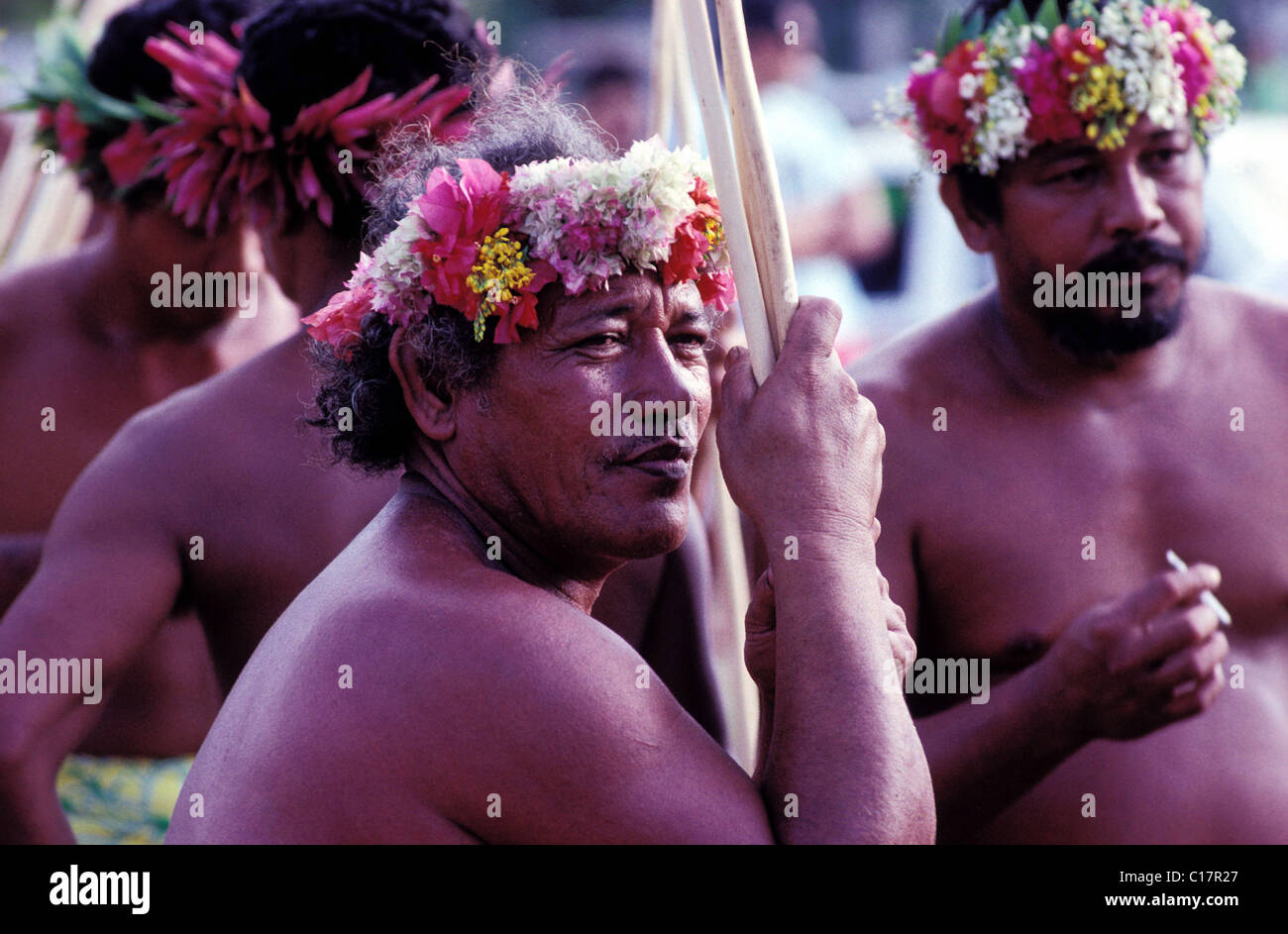 France, French Polynesia, dugout boatmen during the Heiva celebration in Papeete (july) - Stock Image