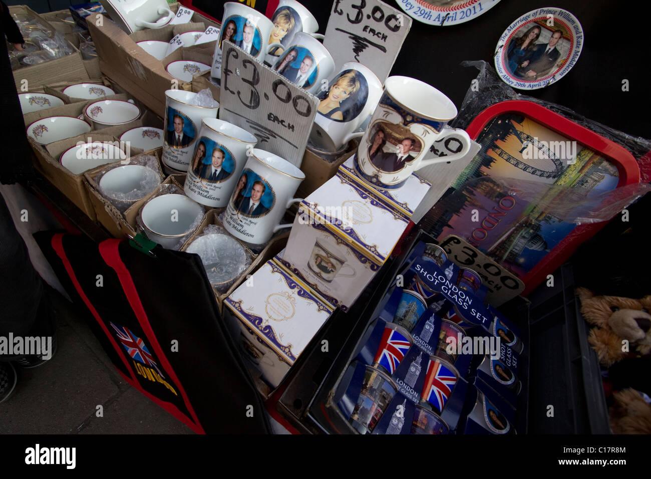 souvenir Royal wedding mugs with kate middleton and prince william - Stock Image