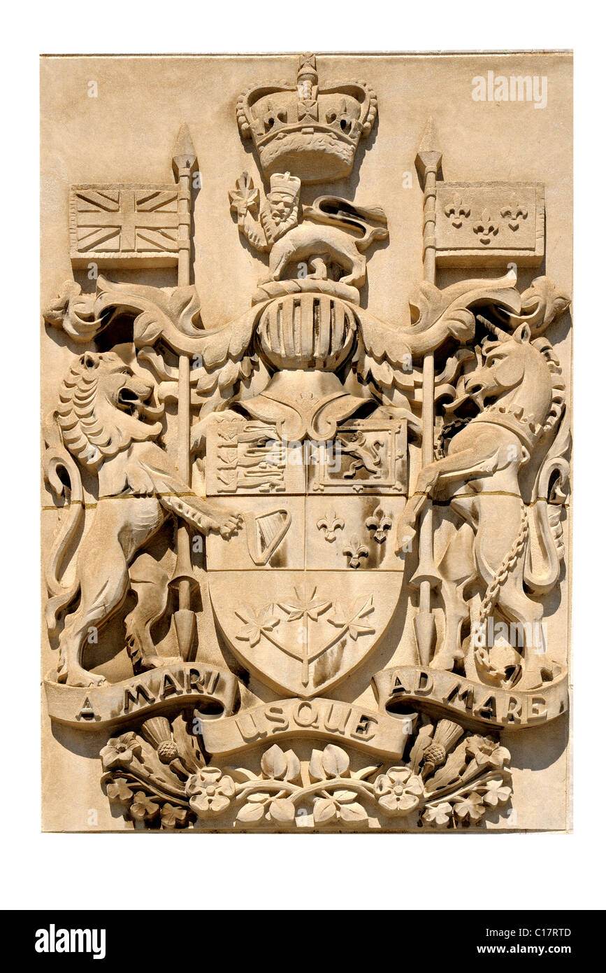 Cartography of Canada's Coat of Arms with inscription of Canadian motto, A mari usque ad mare, From Sea to Sea, - Stock Image