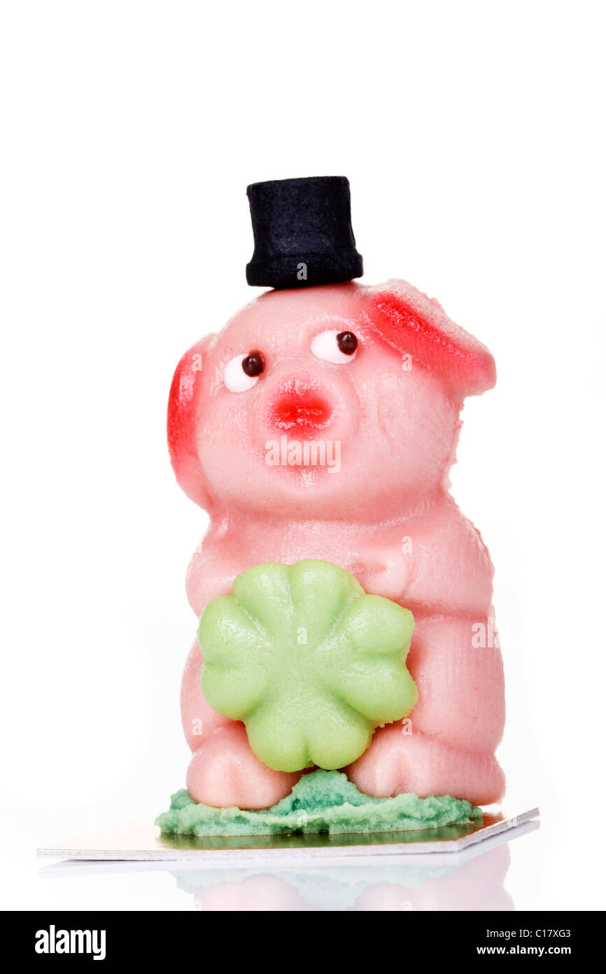 Marzipan Pig With Four Leaved Clover Symbol For Good Luck Stock