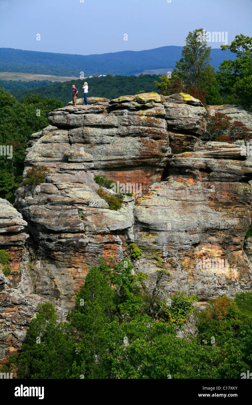 Sandstone rocks in the Garden of the Gods, Shawnee National Forest, Illinois, USA - Stock Image