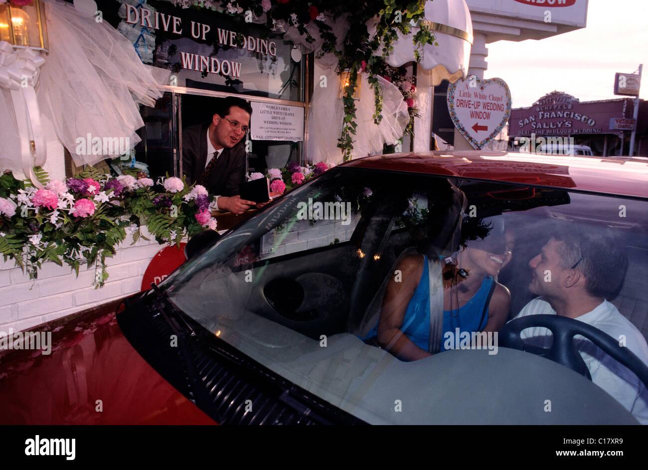 United States Nevada Las Vegas Drive Thru Wedding At Little White