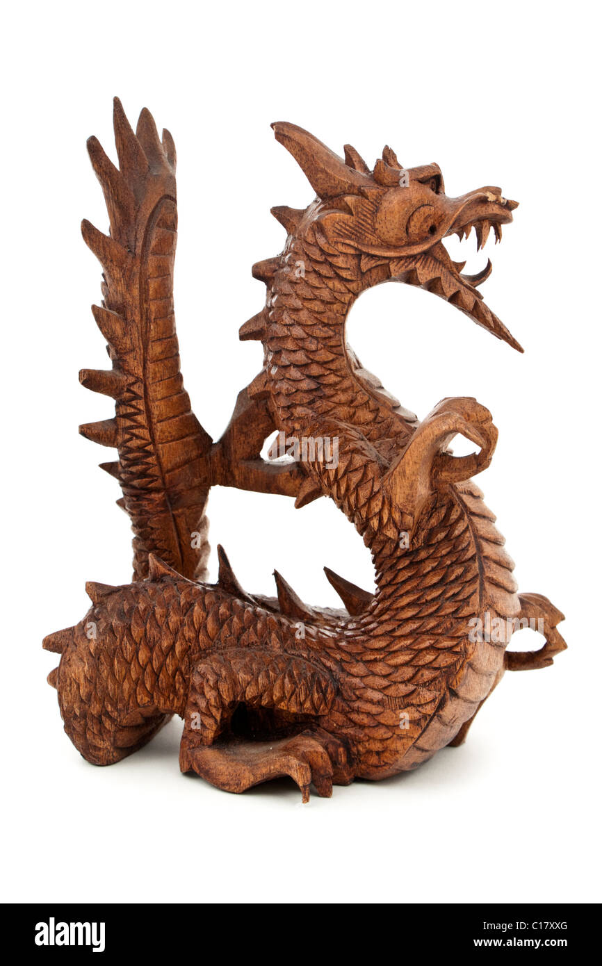 Fierce wooden dragon ornament - Stock Image