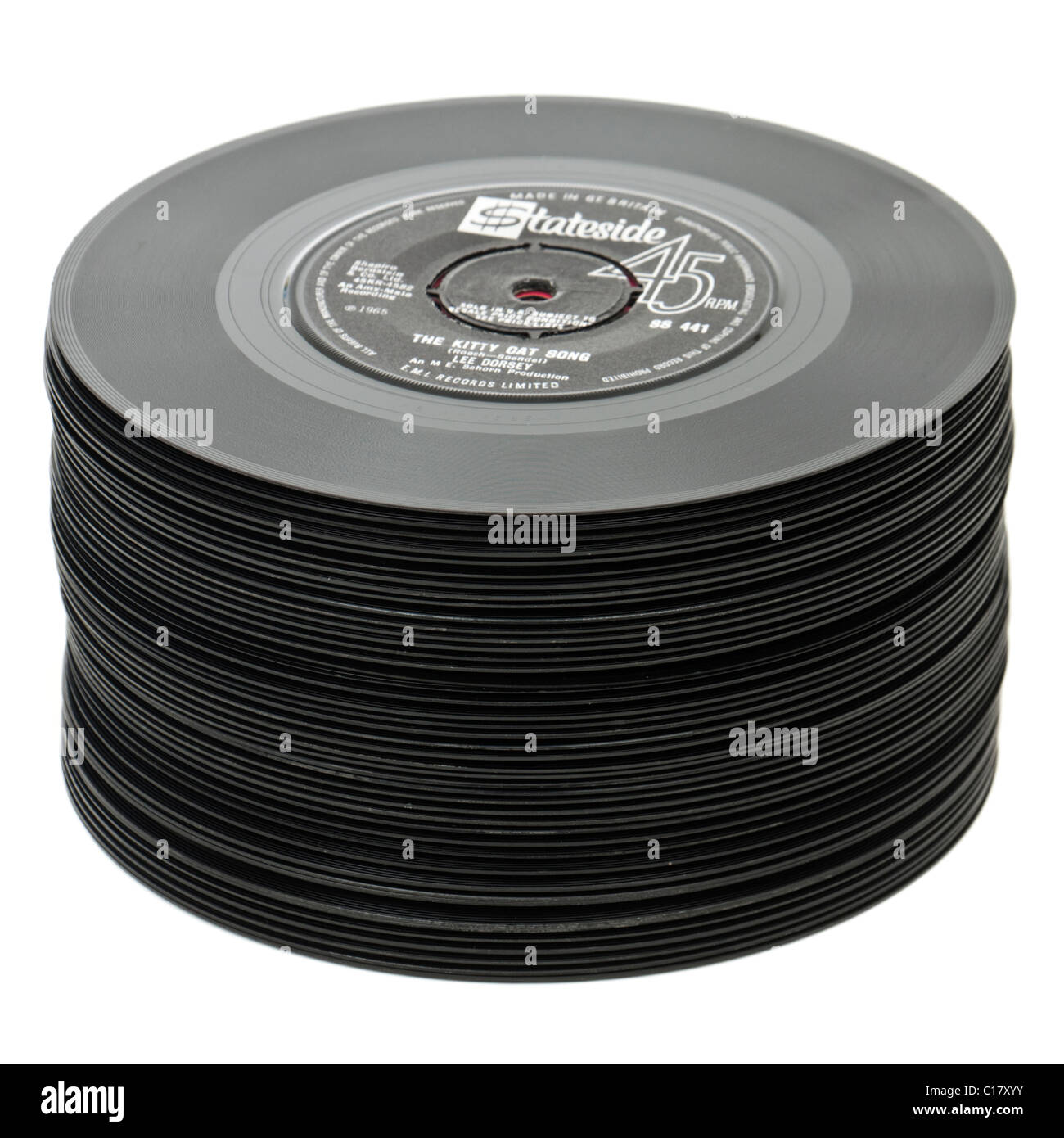 Large pile of vintage 7' vinyl records / singles from the 1950's and 1960's - Stock Image