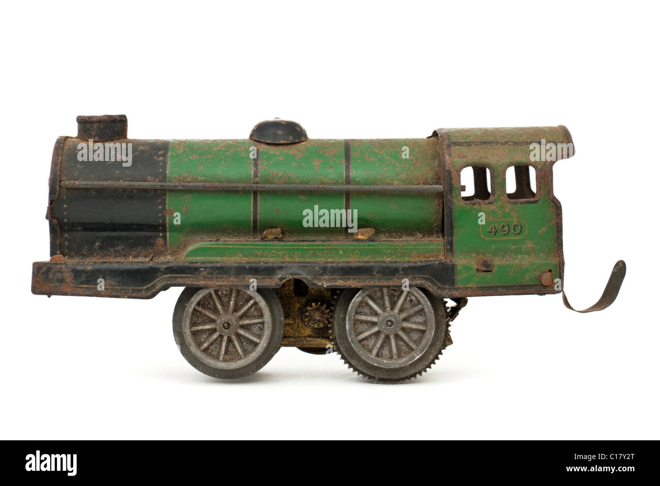 Early tinplate O-gauge 3-rail model railway locomotive - Stock Image