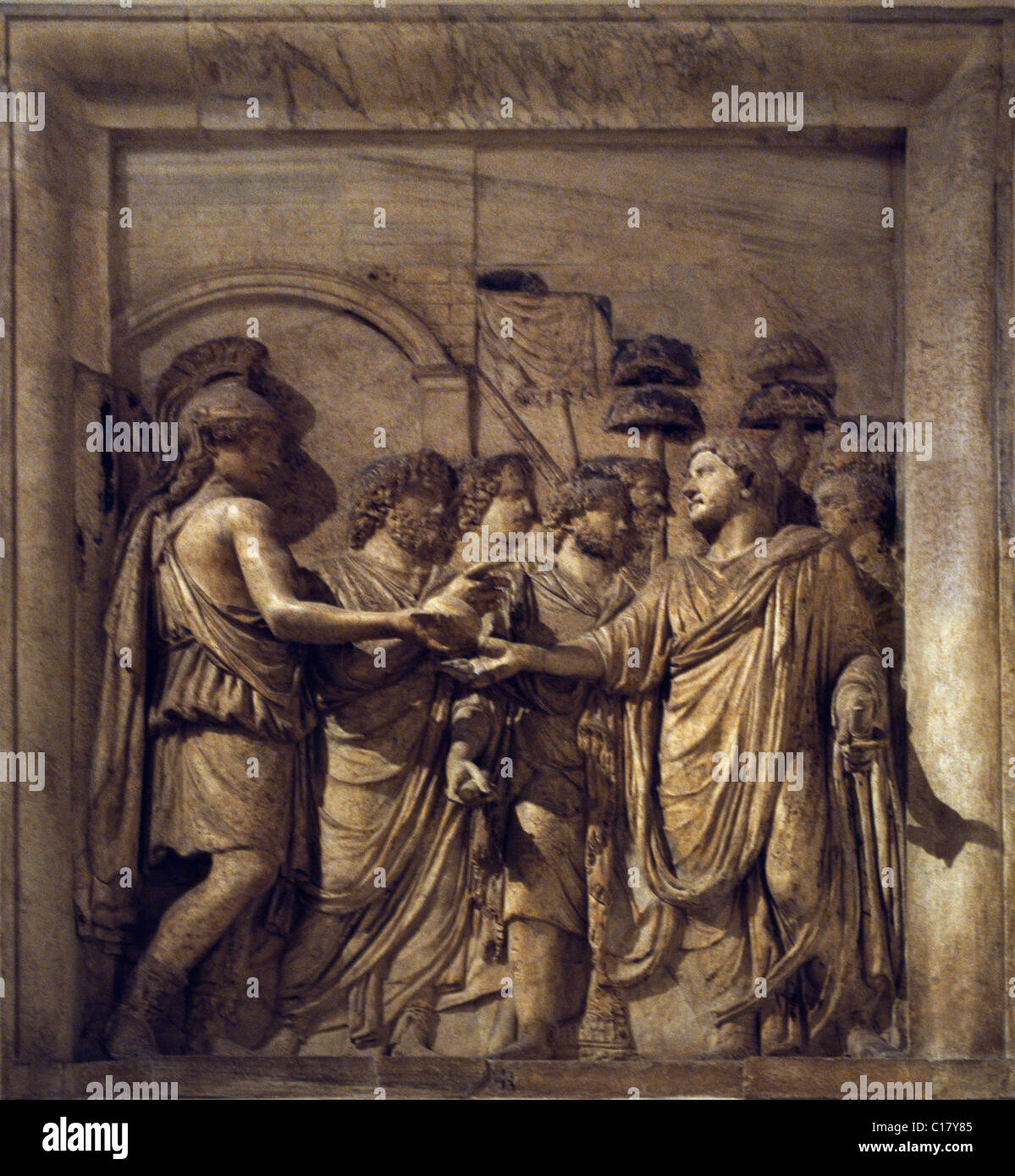 Rome Italy Capitoline Museum Relief Hadrian Entering The City Welcomed By The Goddess Of Roma And The Genius Of - Stock Image