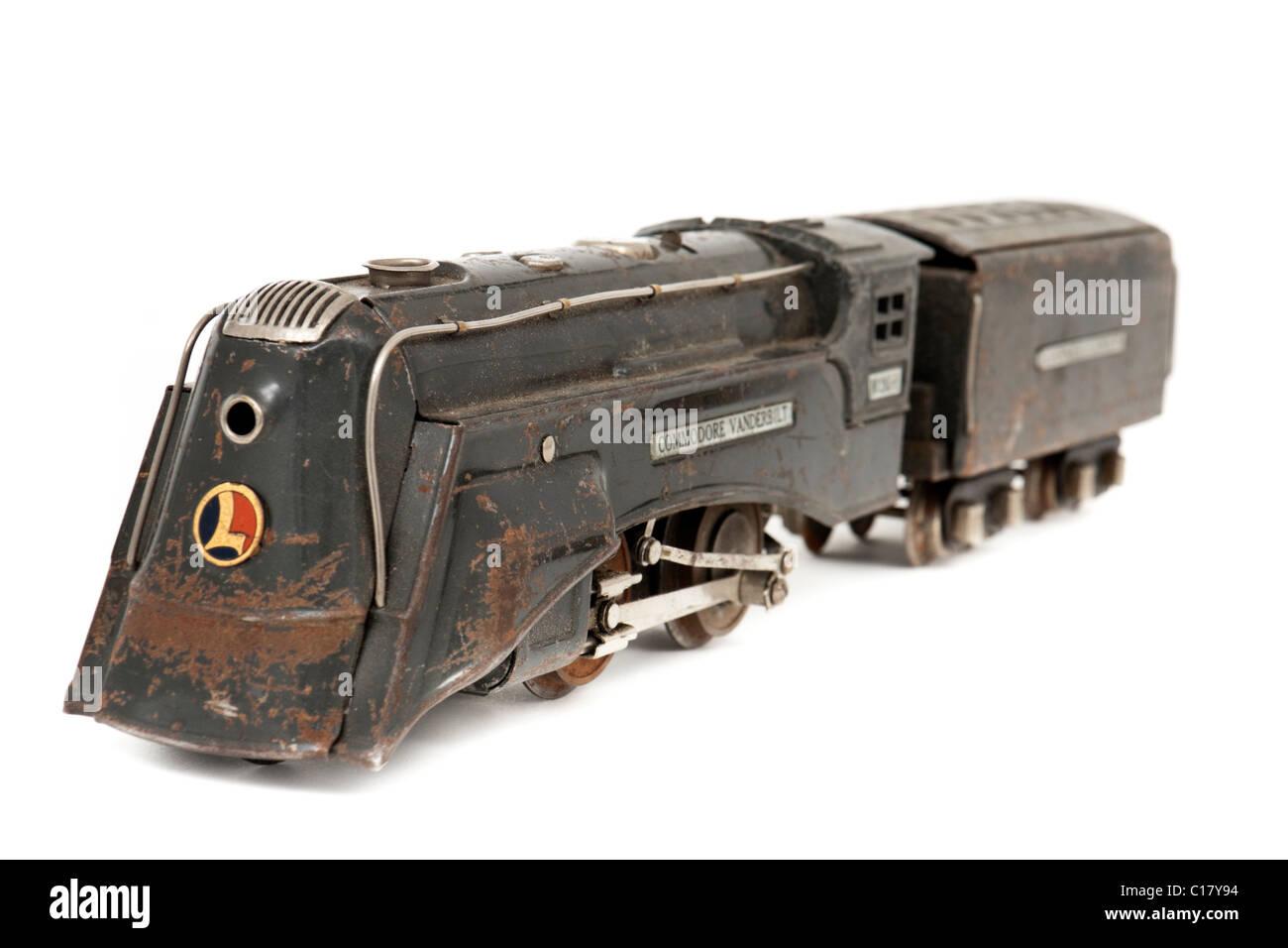 1935 Lionel 'Commodore Vanderbilt No 265-E' model railway locomotive with tender (O-gauge, 3-rail) - Stock Image