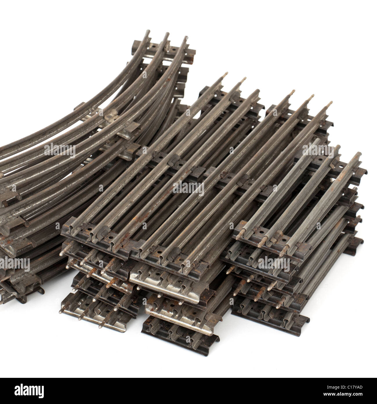Collection of 1930's model railway track (O-gauge, 3-rail) - Stock Image